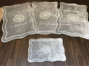 Non Slip Washable Romany Traveller/Gypsy Mat Set 4Pc Target Silver All Colours Available (1)